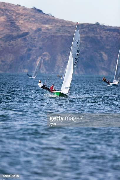 model 505 racing dinghy - sail boom stock pictures, royalty-free photos & images
