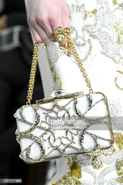 Model, a bag detail, walks the runway during the Elie Saab Haute Couture Spring/Summer 2020 show as part of Paris Fashion Week on January 22, 2020 in...