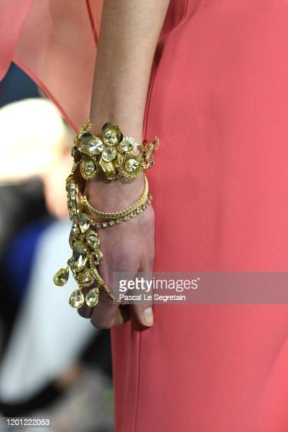 Model, a fashion detail, walks the runway during the Elie Saab Haute Couture Spring/Summer 2020 show as part of Paris Fashion Week on January 22,...