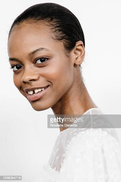 Model Aaliyah Hydes is seen backstage ahead of the Philosophy Di Lorenzo Serafini show during Milan Fashion Week Spring/Summer 2019 on September 22...