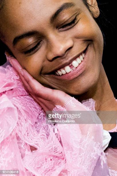 Model Aaliyah Hydes is seen backstage ahead of the Philosophy Di Lorenzo Serafini show during Milan Fashion Week Fall/Winter 2018/19 on February 24,...