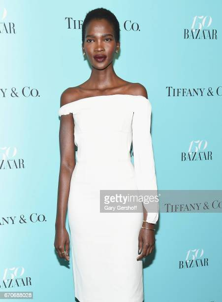 Model Aamito Lagum attends Harper's BAZAAR 150th Anniversary Party at The Rainbow Room on April 19 2017 in New York City