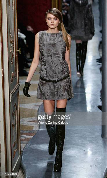 Model Abbey Lee Kershaw walks the runway during the Ermanno Scervino Milan Fashion Week Autumn/Winter 2010 show on February 28 2010 in Milan Italy