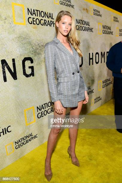 Model Abby Champion attends the premiere of National Geographic's 'The Long Road Home' at Royce Hall on October 30 2017 in Los Angeles California