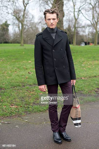 Model Abel Van Oeveren wearing Hermes shoes, Dior jacket, Dior jacket and trousers, Gucci roll neck sweater and a Burberry bag on day 4 of London...