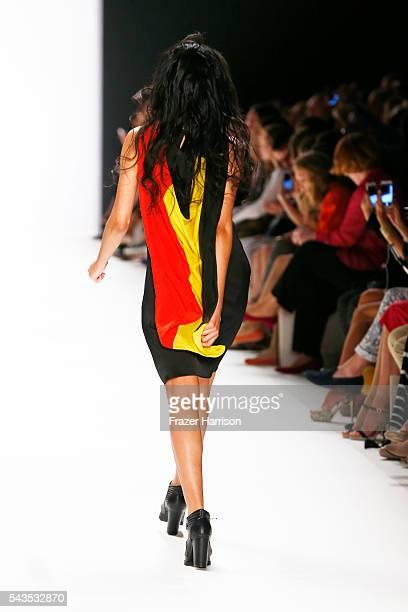 Model Abiba Makoya Bakayoko walks the runway at the Anja Gockel show during the MercedesBenz Fashion Week Berlin Spring/Summer 2017 at Erika Hess...
