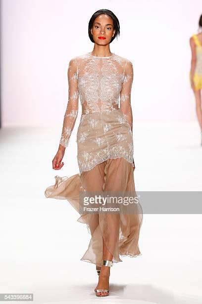 Model Abiba Makoya Bakayoko walks the runway at the Ewa Herzog show during the MercedesBenz Fashion Week Berlin Spring/Summer 2017 at Erika Hess...