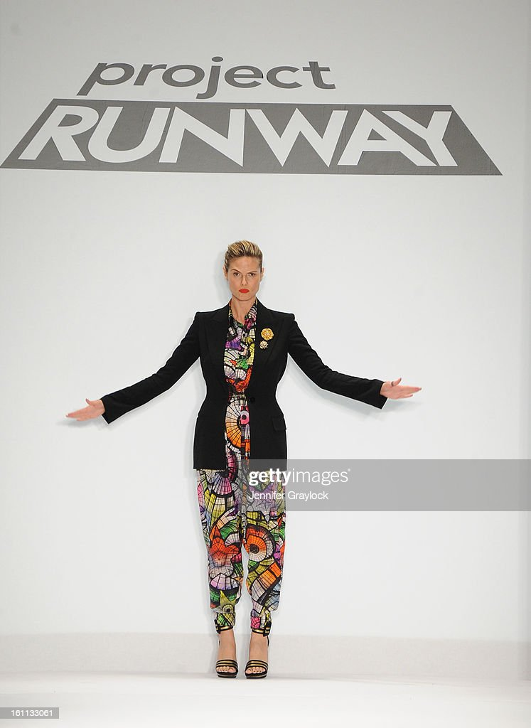 Model Actress Heidi Klum appears on the runway at the Project Runway Fall 2013 fashion show during Mercedes-Benz Fashion Week held at The Theatre at Lincoln Center on February 8, 2013 in New York City.