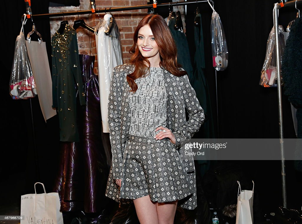 Model/ actress Lydia Hearst poses backstage at the Christian Siriano fashion show during the Mercedes-Benz Fashion Week Fall 2014 at Eyebeam on February 8, 2014 in New York City.