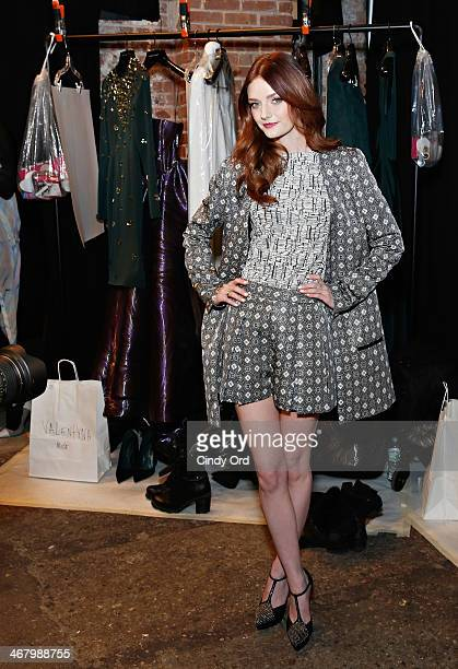 Model/ actress Lydia Hearst poses backstage at the Christian Siriano fashion show during the MercedesBenz Fashion Week Fall 2014 at Eyebeam on...
