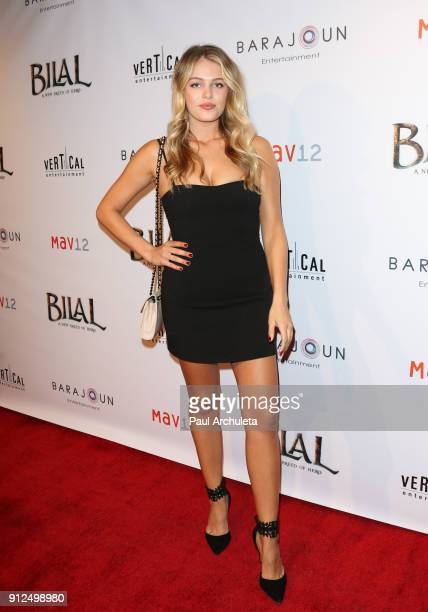 Model / Actress Madison Nagle attends the premiere of 'BILAL A New Breed Of Hero' at Pacific Design Center on January 30 2018 in West Hollywood...