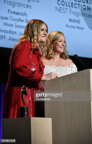 Model Actress presenter Hari Nef and Peggy Elsrode speak on stage during 2018 Fragrance Foundation Awards at Alice Tully Hall at Lincoln Center on...