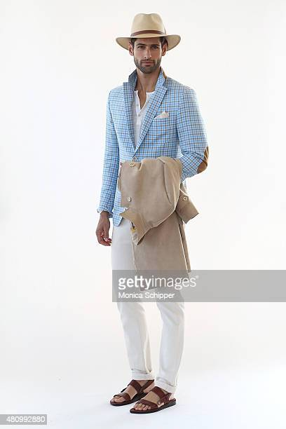 Model Adam Caldera before at the Hickey Freeman presentation during New York Fashion Week: Men's S/S 2016 at The Standard, East Village on July 16,...