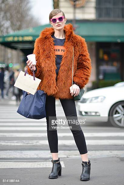 Model Adela Stenberg poses after the Stella McCartney show at the Opera Garnier during Paris Fashion Week FW 16/17 on March 7 2016 in Paris France