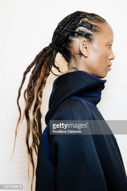 Model Adesuwa Aighewi hair detail is seen backstage ahead of the Sportmax show during Milan Fashion Week Spring/Summer 2019 on September 21 2018 in...