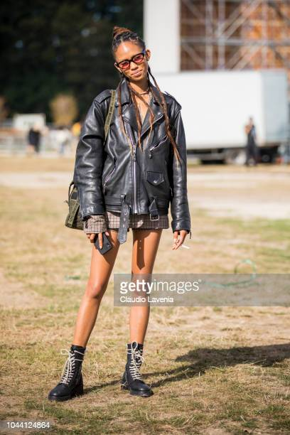 Model Adesuwa Aighewi is seen after the Christian Dior show on September 24 2018 in Paris France