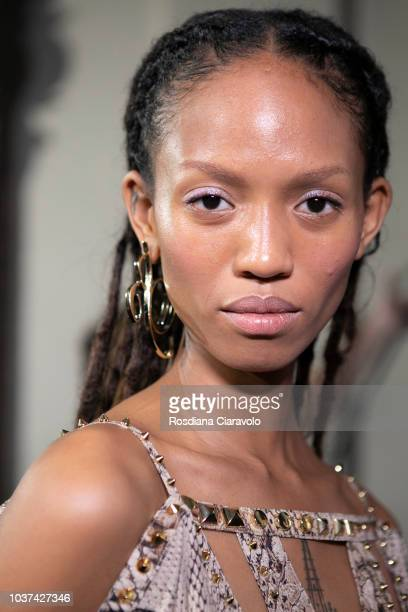 Model Adesuwa Aighewi is seen backstage ahead of the Blumarine show during Milan Fashion Week Spring/Summer 2019 on September 21 2018 in Milan Italy