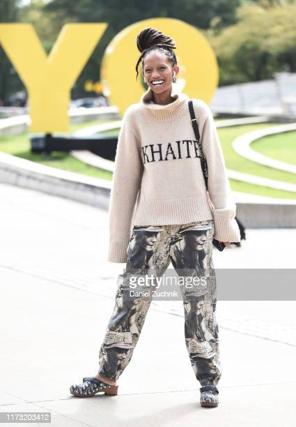 Model Adesuwa Aighewi is seen wearing a Khaite sweater outside the Tory Burch show during New York Fashion Week S/S20 on September 08 2019 in New...