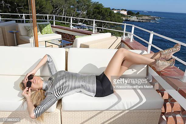 Model Adriana Karembeu is photographed for Paris Match on June 21 2013 in Cap d'Antibes France