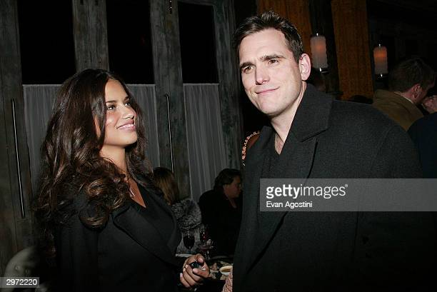 Model Adriana Lima and actor Matt Dillon attend the launch party for the new photo book 'Backstage Sexy' at Spice Market February 11 2003 in New York...