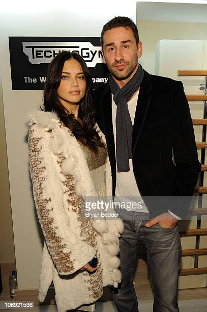 Model Adriana Lima and Marko Jaric attend the US launch for Technogym at the Technogym Showroom on November 16 2010 in New York City