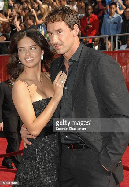 Model Adriana Lima and NBA athlete Marko Jaric arrive at the 2008 ESPY Awards held at NOKIA Theatre LA LIVE on July 16 2008 in Los Angeles California...
