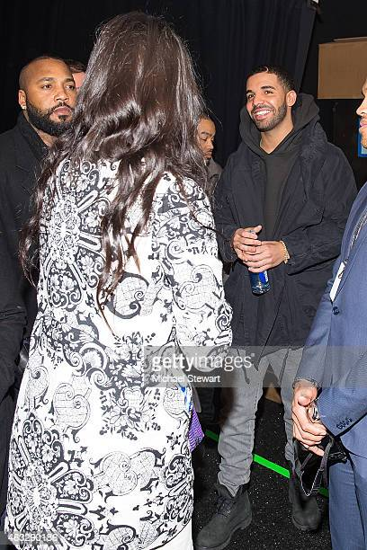 Model Adriana Lima and rapper Drake attend Desigual show during MercedesBenz Fashion Week Fall 2015 at The Theatre at Lincoln Center on February 12...