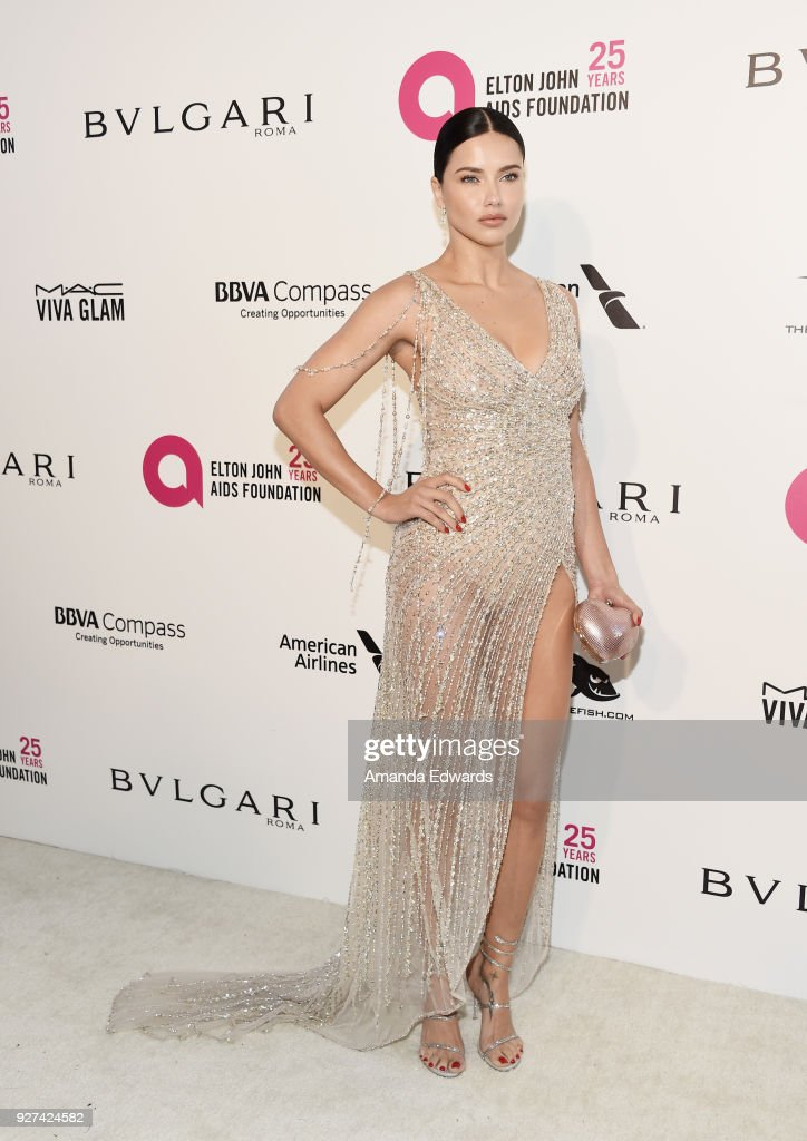 Model Adriana Lima arrives at the 26th Annual Elton John AIDS Foundation's Academy Awards Viewing Party on March 4, 2018 in West Hollywood, California.