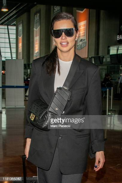 Model Adriana Lima arrives departs the 72nd annual Cannes Film Festival at Nice Airport on May 24 2019 in Nice France