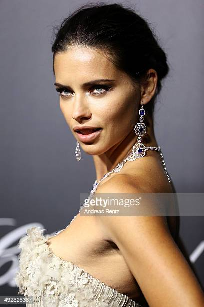 Model Adriana Lima arrives to the Chopard Backstage Dinner Afterparty at the CannesMandelieu Aerodrome during the 67th Annual Cannes Film Festival on...