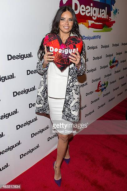 Model Adriana Lima attends Desigual show during MercedesBenz Fashion Week Fall 2015 at The Theatre at Lincoln Center on February 12 2015 in New York...