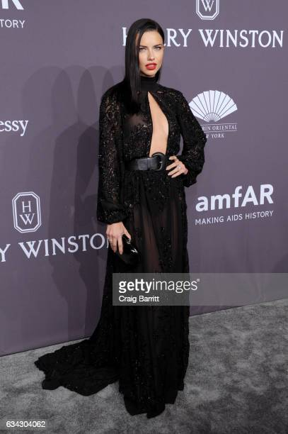 Model Adriana Lima attends the amfAR New York Gala 2017 sponsored by FIJI Water at Cipriani Wall Street on February 8 2017 in New York City
