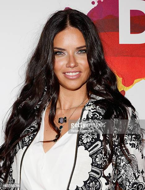 Model Adriana Lima attends the Desigual fashion show during MercedesBenz Fashion Week Fall 2015 at The Theatre at Lincoln Center on February 12 2015...