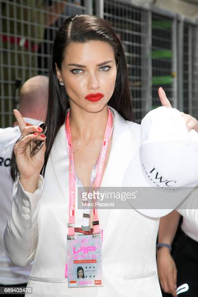 Model Adriana Lima attends the Monaco Formula 1 Grand Prix at the Monaco street circuit on May 28 2017 in Monaco