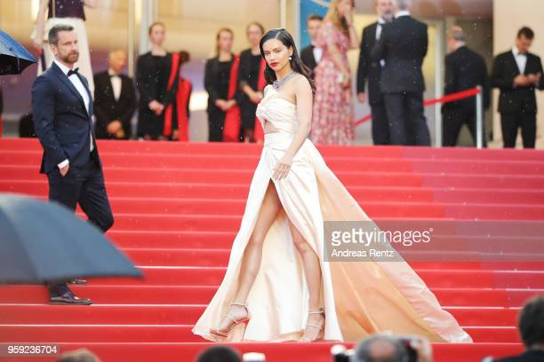 Model Adriana Lima attends the screening of 'Burning' during the 71st annual Cannes Film Festival at Palais des Festivals on May 16 2018 in Cannes...