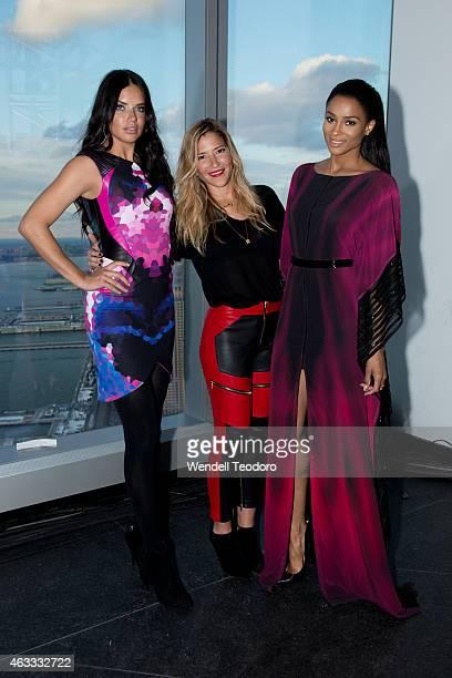 Model Adriana Lima Designer Gabriela Cadena and Singer Ciara pose backstage before the Gabriela Cadena fashion show during MercedesBenz Fashion Week...