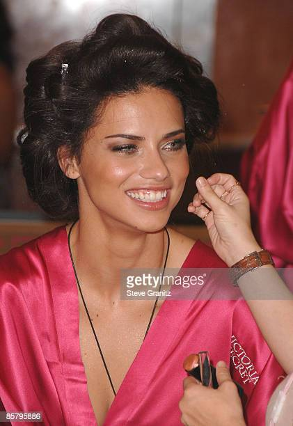 Model Adriana Lima getting hair and makeup done before the 12th Annual Victorias Secret Fashion Show at The Kodak Theatre on November 15 2007 in...