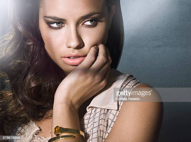 Model Adriana Lima is photographed for Atlanta Peach in 2008 in New York City Styling by Cannon hair by Dominick Pucciarello makeup by Meredith Baraf