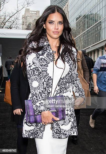 Model Adriana Lima is seen arriving to Desigual fashion show during MercedesBenz Fashion Week Fall 2015 at Lincoln Center on February 12 2015 in New...