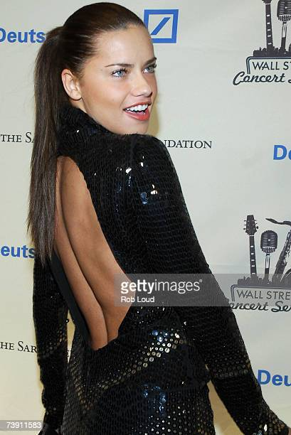 Model Adriana Lima poses at the Cipriani Wall Street Concert Series benefiting UNICEF the Sarah Ferguson Foundation at Cipriani Wall Street April 17...