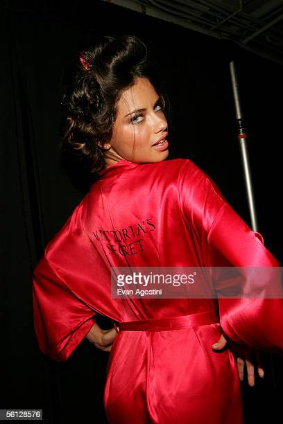 Model Adriana Lima poses backstage at The Victoria's Secret Fashion Show at the 69th Regiment Armory November 9 2005 in New York City