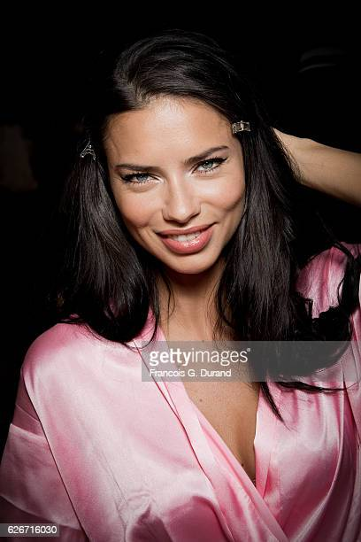 Model Adriana Lima poses backstage prior the 2016 Victoria's Secret Fashion Show on November 30 2016 in Paris France