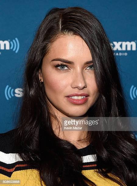 4bdc28bee4 Model Adriana Lima visits the SiriusXM set at Super Bowl 50 Radio Row at  the Moscone