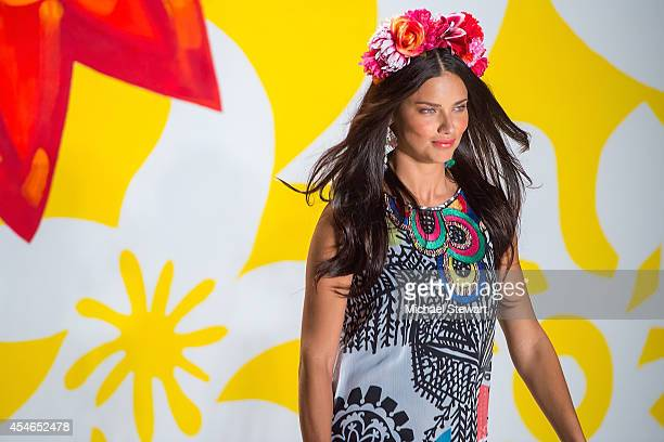 Model Adriana Lima walks the runway at Desigual during MercedesBenz Fashion Week Spring 2015 at The Theatre at Lincoln Center on September 4 2014 in...