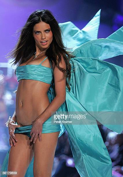 Model Adriana Lima walks the runway at The Victoria's Secret Fashion Show at the 69th Regiment Armory November 9 2005 in New York City