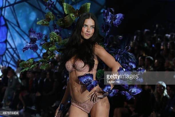 Model Adriana Lima walks the runway during the 2015 Victoria's Secret Fashion Show at Lexington Avenue Armory on November 10 2015 in New York City