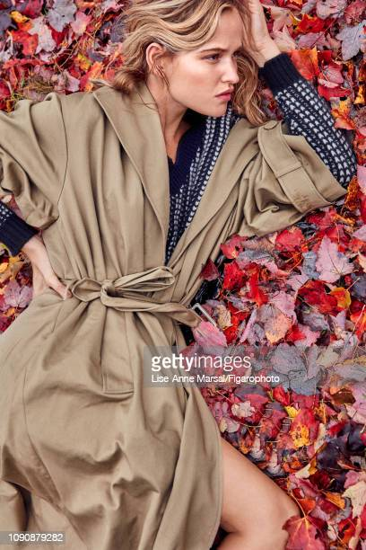 Model Adrianna Bach poses at a fashion shoot for Madame Figaro on October 8 2018 in Massachusetts Trench pullover PUBLISHED IMAGE CREDIT MUST READ...
