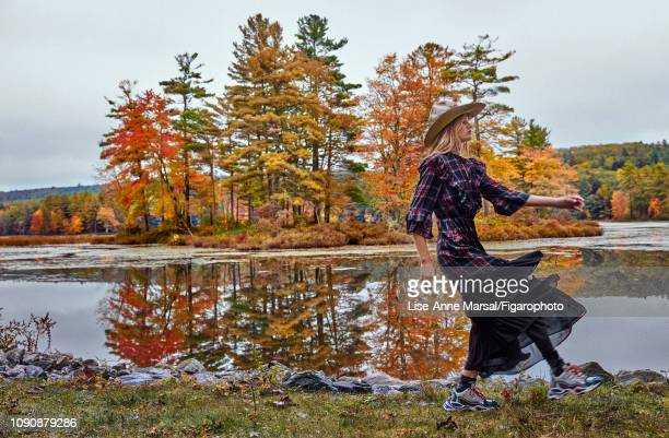 Model Adrianna Bach poses at a fashion shoot for Madame Figaro on October 8 2018 in Massachusetts Dress hat socks sneakers PUBLISHED IMAGE CREDIT...