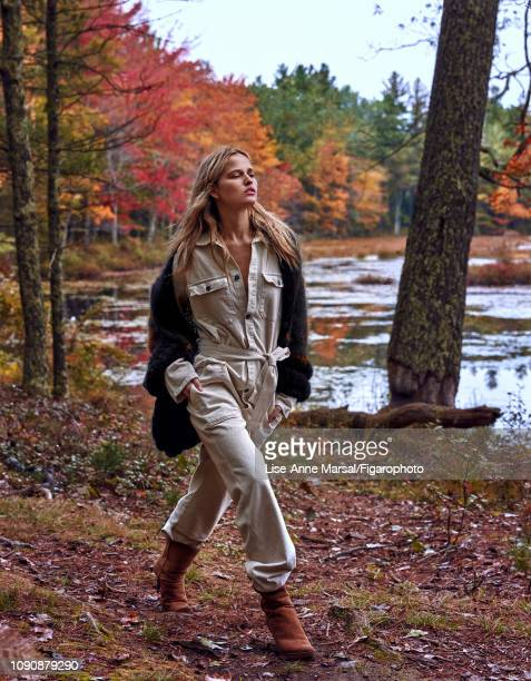 Model Adrianna Bach poses at a fashion shoot for Madame Figaro on October 8 2018 in Massachusetts Outfit vest boots PUBLISHED IMAGE CREDIT MUST READ...