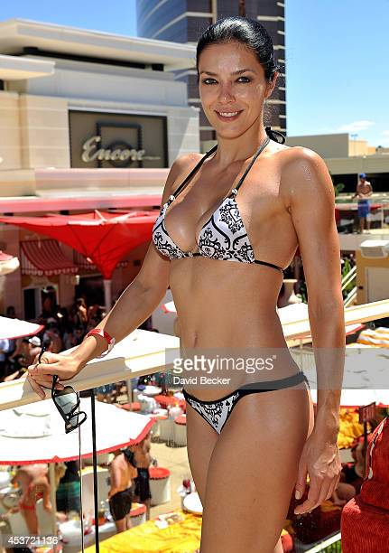 Model Adrianne Curry appears at the Encore Beach Club at Wynn Las Vegas on August 16 2014 in Las Vegas Nevada